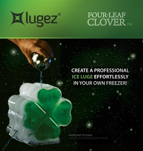 Lugez Clover Ice Luge Mold..Great for you Saint Patricks Day Ice Luge Party, Or any other time you are looking for Green Clover Ice Luge.  Also, great for Notre Dame Tailgaiting Ice Luge.